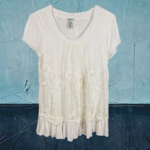 Sundance White Lace Layered Short Sleeve Top XSP